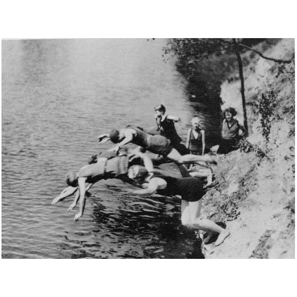 Swimmers Diving into Swimming Hole Created by 1926 Dam Across Duck Creek