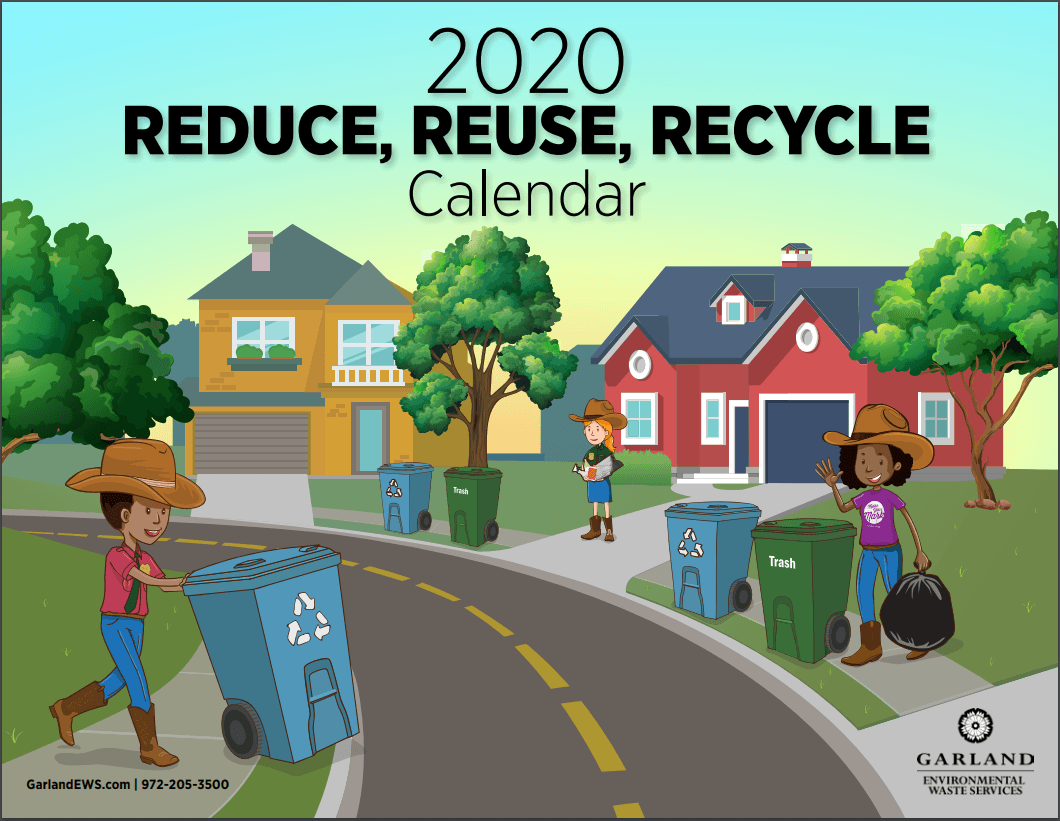 Front page of 2020 Reduce, Reuse, Recycle Calendar